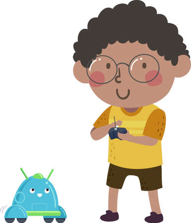 Illustration of a Kid Boy Using Remote Control in Playing with a Robot Vectores