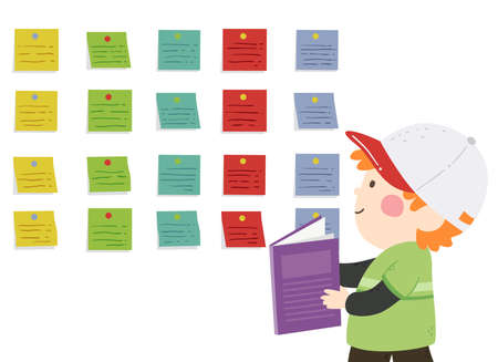 Illustration of a Kid Boy Reading His Notes and Using Sticky Labels on the Wall to Study
