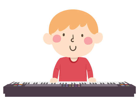 Illustration of a Kid Boy Playing the Piano Keyboard Vectores