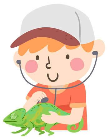 Illustration of a Kid Boy Using Stethoscope Playing Veterinarian with His Pet Reptile Chameleon Vectores