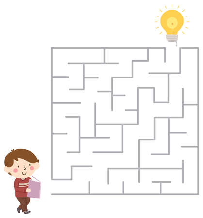 Illustration of a Kid Boy Reading a Book and Going Through a Maze to Get to the Light Bulb for New Idea