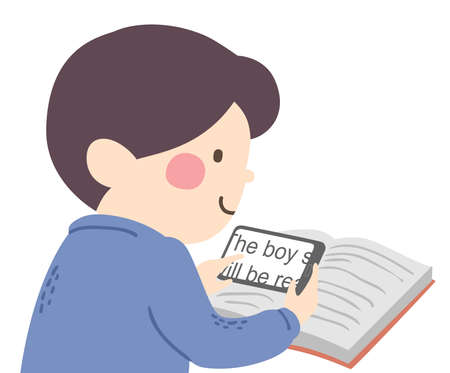 Illustration of a Visually Impaired Kid Boy Using a Magnifier Mobile Phone App to Read a Book Vectores