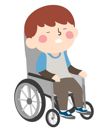 Illustration of a Kid Boy Sitting on a Wheelchair and Sleeping