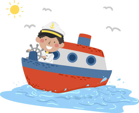 Illustration of a Kid Boy Captain on a Ferry Boat on the Seas