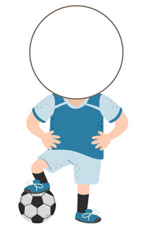 Illustration of a Kid Boy with Template Head Wearing Football Uniform and Stepping a Ball