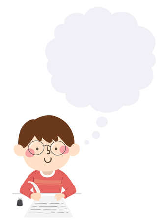 Illustration of a Kid Boy Writing Using a Quill Pen with a Blank Thinking Cloud Vectores