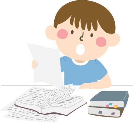 Illustration of a Kid Boy Reading Out Loud a Paper While Studying with Stack of Books