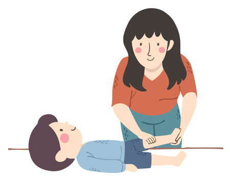 Illustration of a Girl Physical Therapist Massaging a Kid Boy with Muscular Dystrophy Vectores