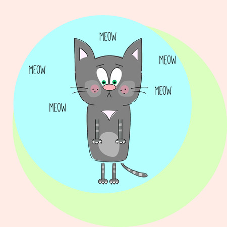 meow: meow cat at circle background
