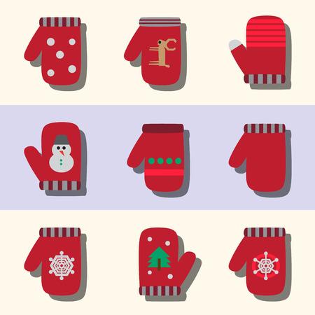 mittens: set of flat winter mittens