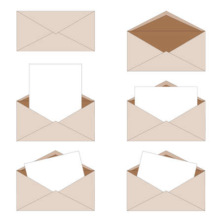 Ordinary paper oblong isolated envelopes, open and closed, with a letter inside. Delivery of correspondence in an envelope. Can be used for example as stickers or icons.
