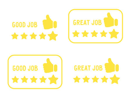 Set of rectangular icons with stars to assess the level of work. Can be used as yellow badges, emblems or stickers. Good job, great job. Flat stock vector illustration isolated on white background