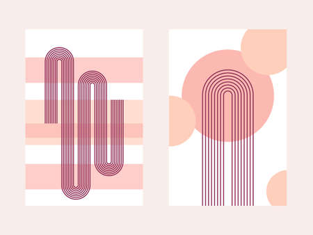 Two abstract posters with boho arches, stripes and circles, in warm autumn colors. Interior wall posters. Boho arch in a minimalistic style. Small simple collection - a couple of minimalistic banners.