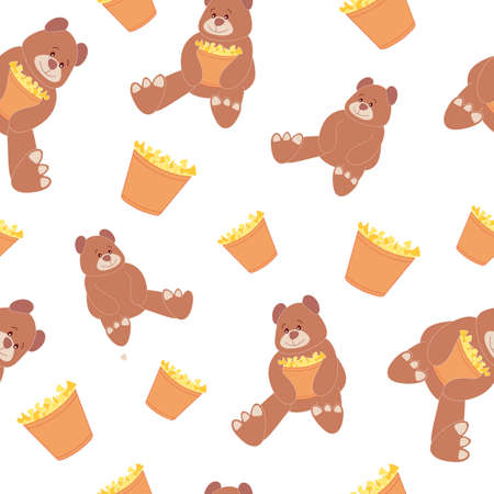 Seamless pattern with teddy bear and popcorn. Children's texture. Cute pattern with popcorn. It can be used as a background, as a wallpaper, as a print, for fabrics, for textiles, for wrapping paper