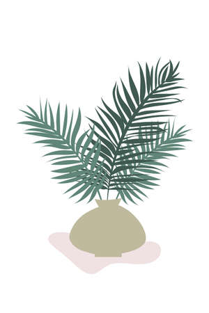 Poster vase with palm branches. Minimalist wall banner, for interior design, in calm pastel colors. Poster composition with vase and palm branches of plants, trees. Boho style, trendy design, modern.