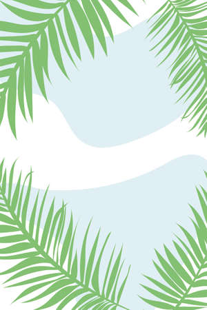 Natural plant banner, with green palm leaves, botanical poster. Background for interior design, tropical poster, with abstract blue spots, in minimalist style, with palm topical leaves and branches. Vektorové ilustrace
