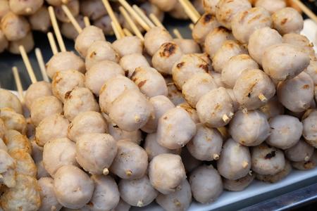 Grilled meatball Thailand street food ready to eat. Reklamní fotografie