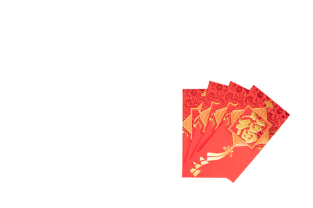 Happy Chinese new year, Hand holding red envelope or called Angpao isolated on white background
