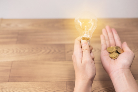 new idea concept, young women hand holding light bulb and coins on wooden backgrounds and new idea concept save power to save the earth