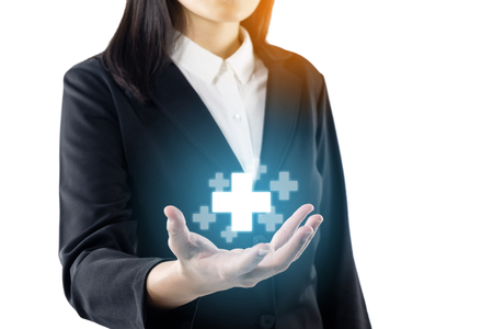 business young woman wearing black suit standing hand show plus sign, offer positive thing, represent benefits results of positive thinking towards corporate social responsibility.