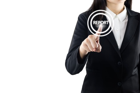 business young woman wearing black suit standing hand touching report sign on virtual screen, modern business background concept