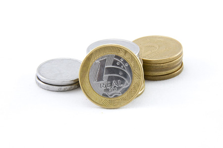 1: Coins brazilian currency 1 real Stock Photo