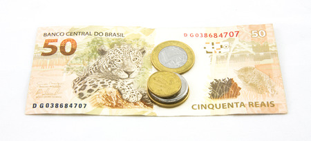 50: Brazil currency 50 reais coins Stock Photo
