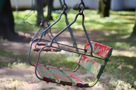 swing set: Old swing set on the woods