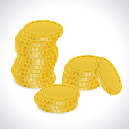 stacking: Apeak laid out coins. Finance decline - Illustration.