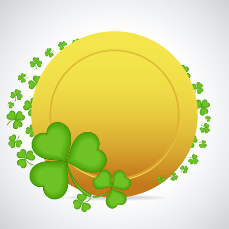 irish culture: Gold coin with clover leaves . Illustration