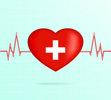 pulsating: Heart with cardiogram. Illustration.