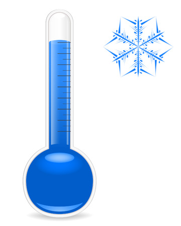 thermometer: Thermometer and snowflake. Vector illustration.