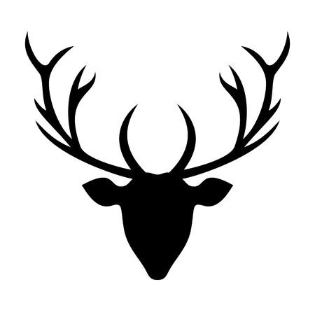 deer silhouette: Deer head silhouette - Illustration.