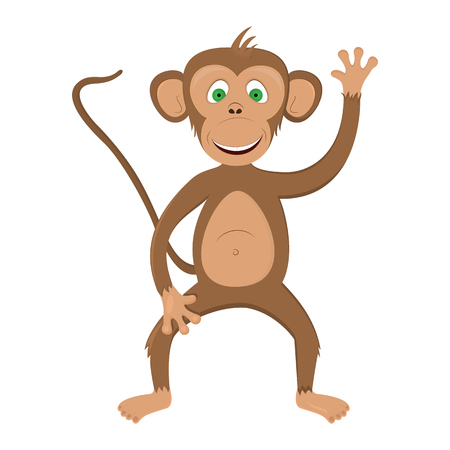 baby playing toy: Funny monkey - illustration. Illustration