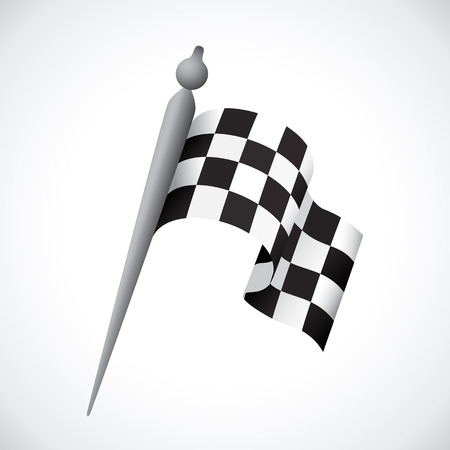 black line: Realistic Checkered Racing Flag. Vector - Illustration.