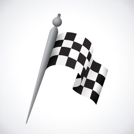 start line: Realistic Checkered Racing Flag. Vector - Illustration.