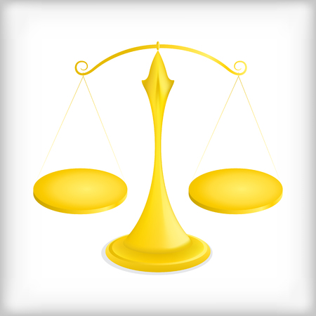 equals: Golden scale in balance and equilibrium - Illustration. Illustration