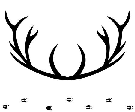 alfa: Deer horns silhouette, vector illustration.