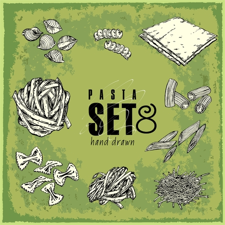 Hand Drawn Pasta Set. Collection of food macaroni farfalle fusilli lasagna linguine penne spagetti vermicelli sketch. Vector illustration