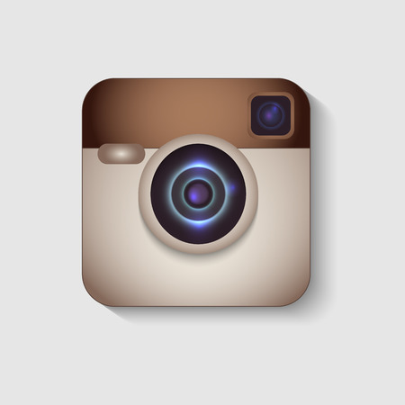 instagram: Hipster colorful realistic photo camera icon with shadow.