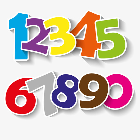 5 0: Set of colorful ribbon font. Numbers 0,1,2,3,4,5,6,7,8,9,0.  new year 2015. Vector illustration