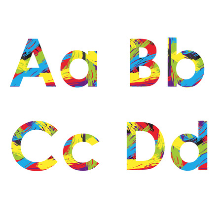 d a r e: set of colorful alphabets on abstract background