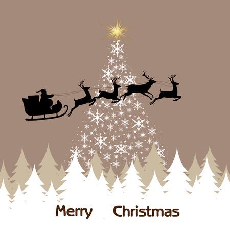 claus: magic Christmas tree, snowflakes and Santa Claus
