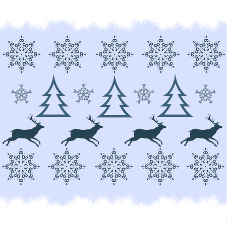 formalize: handicraft  winter sweater design - deer, snowflake and christmas tree