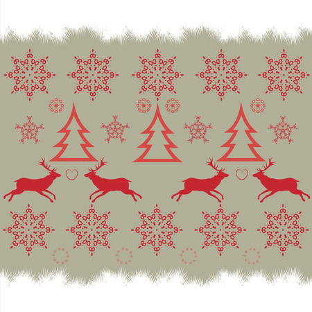 turned: Christmas embroidery cross-stitch pattern with deer and snowflakes. This pattern is seamless, it can be turned into a border.