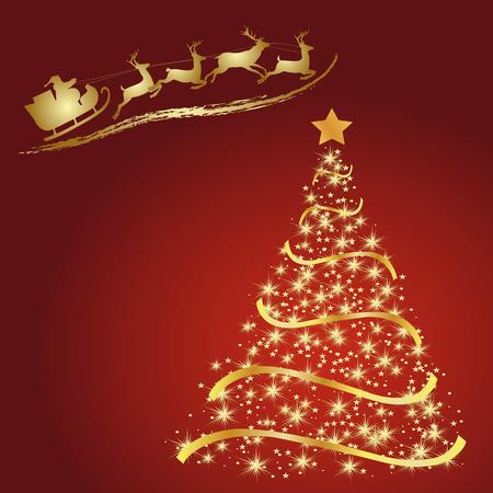 赤の背景、ベクトル クリスマス ツリーに黄金のモミ