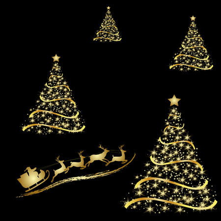 Abstract golden christmas tree on black background. Vector eps10 illustration