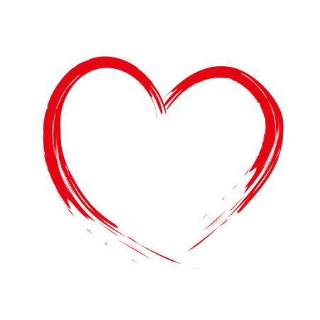 Cepillo pintado de corazón Cupido hecho, hecho a mano, grunge Foto de archivo - 52157362