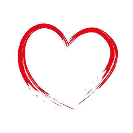 Geschilderde borstel hart Cupido gemaakt, handgemaakt, grunge Stock Illustratie