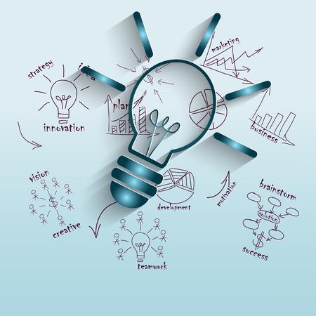 L'idea della gestione economica, illustrazione con lampada per le imprese